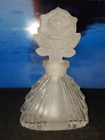 """Vintage I.W. Rice Cut Glass Perfume Bottle w/ Frosted Rose Stopper 4-3/4""""H"""