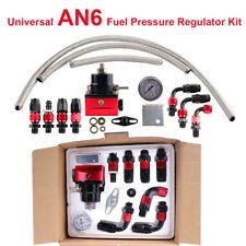 Universal Fuel Pressure Regulator+Gauge+AN6 Fuel Line Hose+Fitting Black+Red Kit