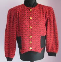 VTG Ladies STANNER Red/Black Lined Cropped Cotton Mix Cardigan Size 14(T16)