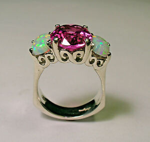 STERLING SILVER PINK TOURMALINE OPAL RING SIZE 7