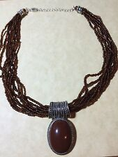 ANTIQUE CHOCKER NECKLACE 8 STRAID BROWN BEADS W/PENDENT VERY BEAUTIFUL