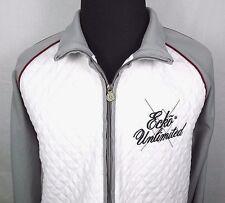 ECKO UNLTD Mens Zip Front Jacket Size XL Quilted White Front Zip Pockets Gray