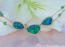 Unbehandelte Echtschmuck-Halsketten & -Anhänger im Collier-Stil mit Smaragd-Hauptstein