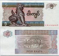 BURMA 5 KYATS 1996 P 70 MYANMAR CX PREFIX REPLACEMENT UNC LOT 5 PCS