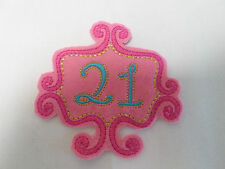 Large Embroidered 21st Birthday Scrapbook Album Birthday Pink Card Motif  #18A63