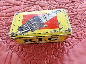 ancienne  boite à bougies KLG en tôle sérigraphiée-France-FF70