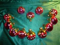 ~12 alte Christbaumkugeln Glas gold pink weiß Sterne Vintage Weihnachtskugeln ~