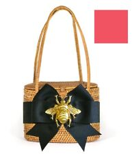 Bosom Buddy 'Savannah' Bag in Tan w/ Bright Pink Bow & Gold Bee Charm, New