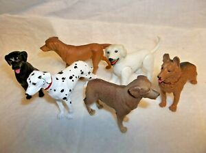 "Lot of 6 Plastic Figure Dogs ~ all Different 3"" Lot of 6 toys"