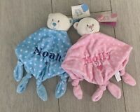 PERSONALISED BABY TEDDY BEAR COMFORTER RATTLE GIFT NEW BABY SHOWER BLUE PINK