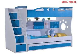 NEW king single BLUE BUNK BED + TRUNDLE +STAIRCASE +DRAWERS Childrens Bedroom