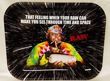 """New Large Raw Time And Space Unrefined Rolling Papers Tray 13""""x11"""" Metal Tray"""