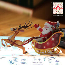 3D pop up carte Santa Claus Noël cerfs fériés joyeux Noël cartes de voeux