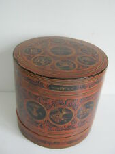 Antique wood and lacquer Burmese betel nut box