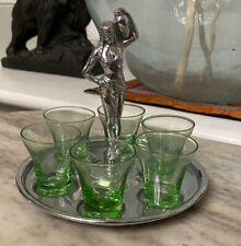 Farberware Chrome Art Deco Egyptian Woman Figural Shot Depression Glass Green