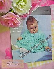 Vintage Knitting Pattern Baby's Beautifully Stitched Dress & Matinee Coat.