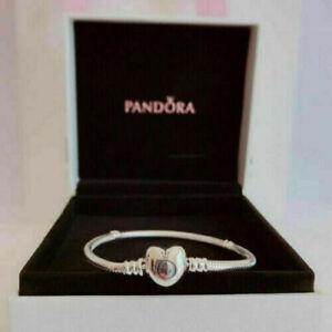 New Genuine Pandora S925 Silver Moments Heart Clasp Charm Bracelet UK STOCK