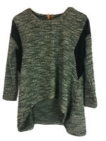 Anama Anthropologie Sweater Size M/L Nubby Black Mesh Insert Sharkbite Hem