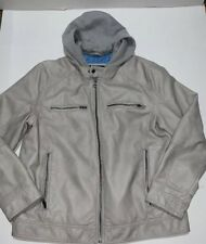 Preowned- Guess Faux Leather Detachable Hood Motocycle Jacket (Mens Size XL)