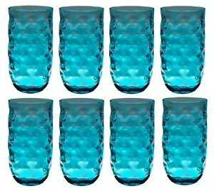 QG 22 oz Clear Colorful Acrylic Plastic Drinking Glass Tumbler Set of 8 Blue