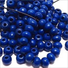 Lot de 100 Perles en Bois 6mm Bleu pour Colliers Bracelets Norme DIN EN 71-3