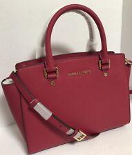 NEW Michael Kors Medium Selma Cranberry Saffiano Leather Satchel Handbag $298