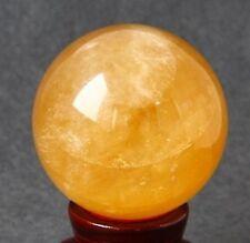 80MM+SAND Natural Citrine Calcite Quartz Crystal Sphere Ball Healing Gemston!!!