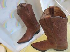 Ladies Cognac Colored Scalloped Top Ariat  Western Boots Size 7.5B
