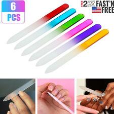 6Pcs Double-sided Glass Nail File Durable Crystal Buffer Nail Art FilesTools New