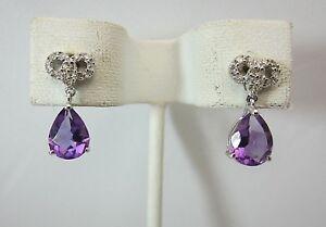 New 14K White Gold Amethyst Diamond Dangling Earrings 2.70 CTW
