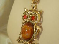 Pretty Rhinestone AA Glass Jelly Belly Vintage 60s Owl Necklace 10MY5