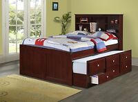 Captains Full Bed for Kids with Bookcase Headboard