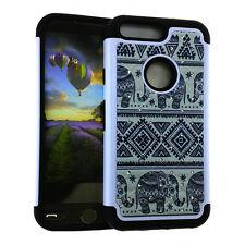 For Google Pixel  - Hard & Soft Hybrid Diamond Bling Case Cover Tribal Elephants