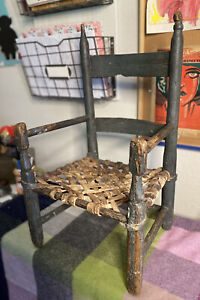 Antique Child's Ladderback Chair Rawhide Latticed Seat Early 19th C. Orig. Paint