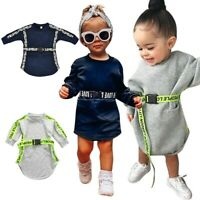 Toddler Long Sleeve Dress Baby Kid Girl Fashion Letter Print Belt Princess Dress