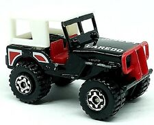 MATCHBOX JEEP LAREDO 4x4 BLACK w WHITE ROOF & RED INTERIOUR 1/59 SCALE DIECAST