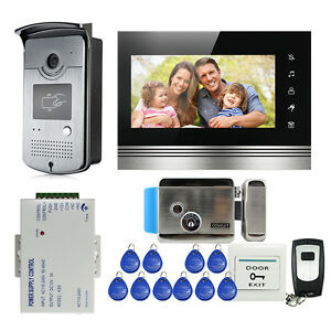 "7"" Video Intercom DoorPhone Doorbell System IR Night Vision Camera Electric Lock"