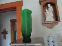 """Vintage Vase Frosted green glass 9 1/4"""" tall 2"""" square Base x 3"""" square opening"""