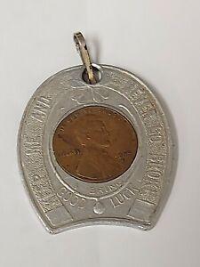 1955D Never Go Broke Encased Wheat Cent Lucky Penny Horse Shoe 1000 island NY SC
