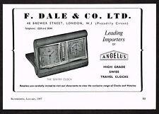 1950's Vintage 1957 F. Dale Co. - Angelus Sentry Clock - Paper Print AD