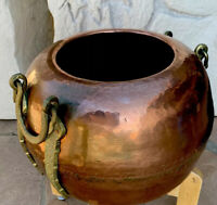 "Oversized Vintage Solid Brass Pot with Handles.Thick&Heavy. India Made.-13.5""Dia"