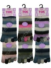 1 Ladies Brushed Multi Colour Fluffy Striped Toe Socks UK 4-7
