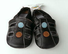 Baby boy soft sole leather shoes size S- 11cm 0 - 6 mths dark brown pre-walkers