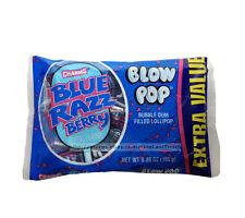 CHARMS BLOW POP^5.2oz+ Bag BLUE RAZZ BERRY Bubble Gum Filled Candy LOLLIPOPS 1/2