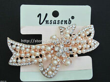 60% OFF! UNSASENB INTRICATE SIMULATED PEARLS W/ RHINESTONES HAIR CLIP #5 P198