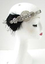 Black Silver Vintage Feather Headdress 1920s Great Gatsby Headband Diamante Y84