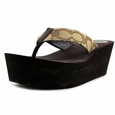 8f40de5f717ab Women s Comfort Coach Jen Wedge Sandals Khaki Chestnut US Size 10