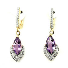 Sterling Silver 925 Yellow Gold Coated Natural Amethyst & Lab Diamond Earrings