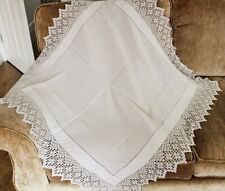 VICTORIAN EDWARDIAN CROCHET LACE TABLE CLOTH - HOMEWARES / VINTAGE CAFE TEA SHOP