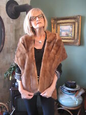 "Vintage Mink Fur Stole wraps pastel brown so soft 54"" in long"